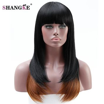 """SHANGKE"" 22'' Long Synthetic 2 Tone Wigs (Heat Resistant) Synthetic Hair"
