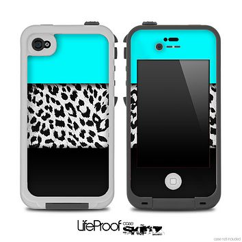 Three-Toned Turquoise BW Leopard V2 Skin for the iPhone 5 or 4/4s LifeProof Case