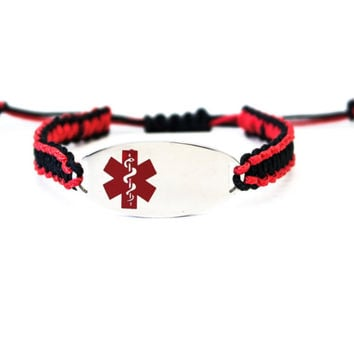 Micro Paracord Bracelet with Engraved Stainless Steel Medical ID Tag - Red