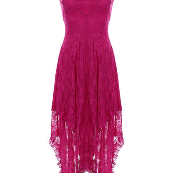 Pink Lace Sheer High & Low Midi Dress