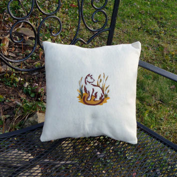 Pillow Cover - Embroidered Cat