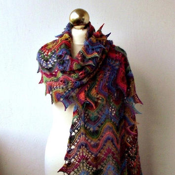 Multicolor hand knitted lace shawl,knit scarf