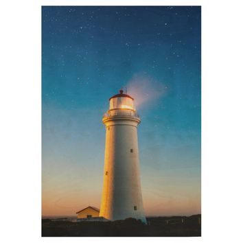 Lighthouse Photography Wood Poster