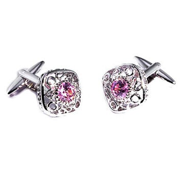 Vintage 1.3cm Men's Pink Czech Diamond Cufflink(1 Pair)