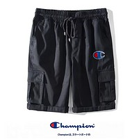Champion Summer New Fashion Embroidery Logo Leisure Women Men Shorts Black