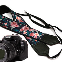 Flowers Camera strap.  Roses camera strap.  dSLR Camera Strap. Camera accessories. Black, Teal Pink camera strap. Nikon camera strap.