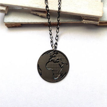 Black Earth Necklace Globe Icon Jewelry Design Planet Art Logo Beep Studio World Map Silver And Rhodium Small Pendant Miniature Minimalist