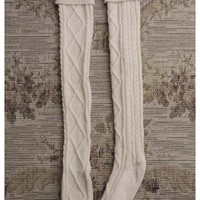 Knit Knee Socks in Cream