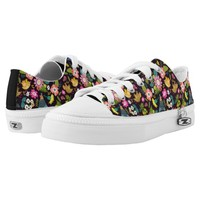 Floral Illustrations on Black Zipz Printed Shoes