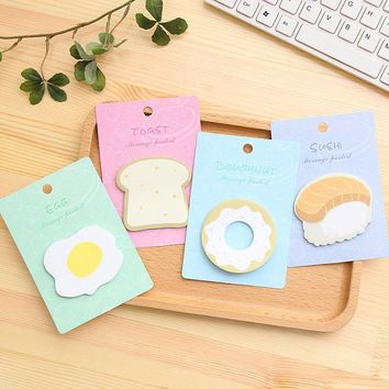 Free Shipping Cute Kawaii Egg Donuts Memo Pad Paper Stickers Creative Toast Sushi Post It Note Writing Pads School Supplies 2592