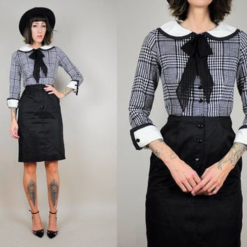 black & white 50's PLAID bow tie wiggle pan collar SCHOOLGIRL 60's tight dress Bombshell French Librarian xs