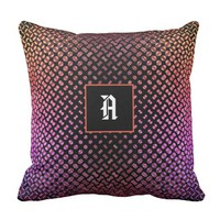"""Vibrant colorful dots with black base """"A"""" monogram Throw Pillow"""