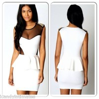 Sexy White Black Mesh Gold Stud Studded Spike Peplum Party Mini Cocktail Dress