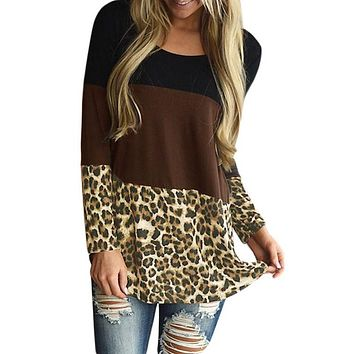 Black Taupe Block Leopard Splice Long Sleeve Top