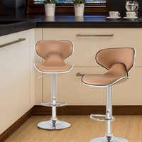 Bareneed Coffee-Color Modern Bar Stools with Backs (Set of two)