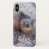"""""""Relax"""" Quote Fun Hawaii Sea Turtle Close-up Photo iPhone X Case"""