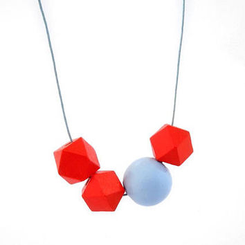Wood bead necklace, hexagon necklace, wooden necklace, geometric wood necklace, orange and light blue, asymmetric necklace, minimal jewelry
