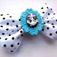 Rockabilly/Pin Up Hair Bow- Baby Blue Polka dot Sailor