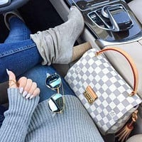 Free shipping-LV Tide brand female classic old flower checkerboard messenger bag shoulder bag