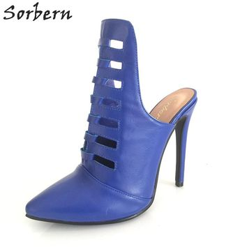 Sorbern Female Shoes Women Mules High Heels Hollow Out Stilettos Open Heeled Pretty Toes Small Shoes Size 34 Womens Christmas