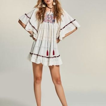 Batwing Sleeve Tassel Day Dress