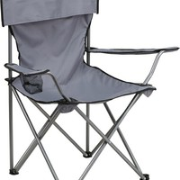 Folding Camping Chair with Drink Holder in Gray