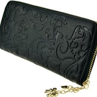 Heshe Women Zippered Around Clutch Organizer Card Case Holder Money Clip Long Wallet
