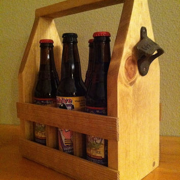 Beer Tote, Handmade Beer Carrier, Custom Wooden Craft Beer Tote 6 Pack, Pine Stain, Rustic Primitive