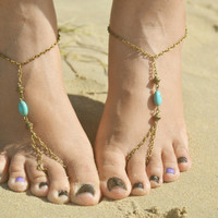 Barefoot Sandals Footless Sandals Anklet Toe Ring Foot Jewelry Yoga Boho Bohemian Gypsy Turquoise SandaraBSTQ