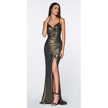 Long Fitted Metallic Gown Bronze Ruched Side Sexy Leg Slit