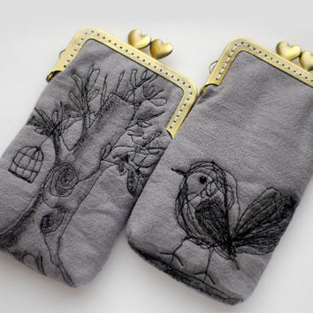 iPhone Case iPhone sleeve gadget case  iPhone 5s iPhone 5c -- Free Motion Embroidery Bird and tree