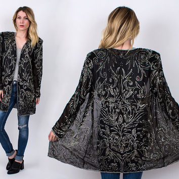 Sequin black sheer ART DECO duster jacket blazer vintage 80s ornate coat beaded sequined avant garde gunmetal M L