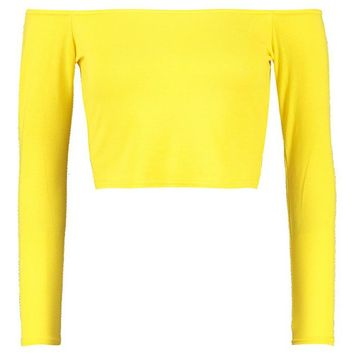 Cara Long Sleeve Bardot Crop Top | Boohoo