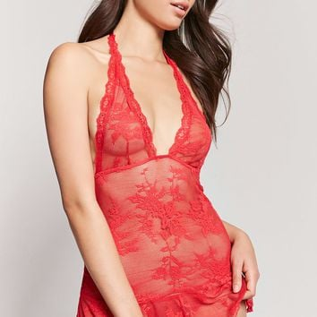 Sheer Lace Halter Slip and Thong Set