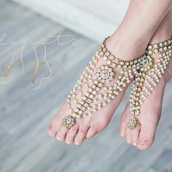 Beach Wedding Pearl Barefoot Sandals,Beaded Barefoot Sandals, Pearl Barefoot Shoes, Footless Pearl Shoes,Swarovski Crystal, MALEE design