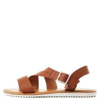 Tan Asymmetrical Strappy Flat Sandals by Charlotte Russe