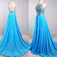 Sexy Ice Blue Backless Prom Dresses,Stunning Crystal Beaded Prom Dresses,Long Chiffon Evening Dresses,Unique Homecoming Dresses