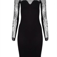 Mason by Michelle Mason Black Lace Long Sleeve Dress