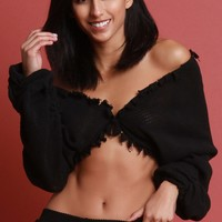Loose Knit Ruched Sleeve Crop Top