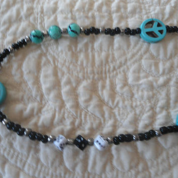 Reduced Boot Bracelet with 6 Turquoise beads, 3 peace signs 3 round beads dice beads a key charm black and pewter beads Hippie Jewelry