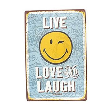 12x8 Inches Pub,bar,home Wall Decor Souvenir Hanging Metal Tin Sign Plate Plaque (LIVE LOVE AND LAUGH)