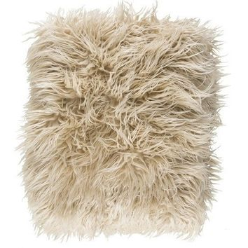 Natural Faux Sheepskin Throw