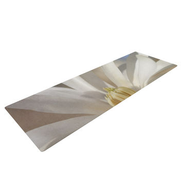 "Robin Dickinson ""First Signs"" White Floral Yoga Mat"