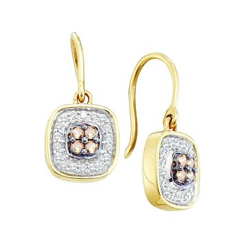 14kt Yellow Gold Womens Round Cognac-brown Colored Diamond Square Cluster Dangle Earrings 1/3 Cttw