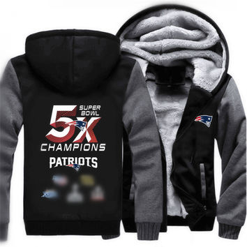 Newest Super Bowl Champions Winter Thicken Hoodie Patriots FOOT BALL Team Men Women Fleece Zipper Jacket Clothing Casual Coat