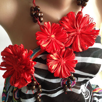 """jewelry Set, Necklace+brooch """"Red flowers"""", hairpin flower, flower brooch, handmade jewelery, flowers necklace, brooch, brooch-hairpin"""