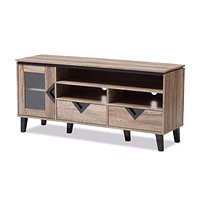 Cardiff Modern and Contemporary Light Brown Wood 55-Inch TV Stand By Baxton Studio