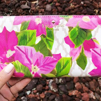 Kate spade Bayard Place Lacey Zip Around Wallet Beige Pink Floral