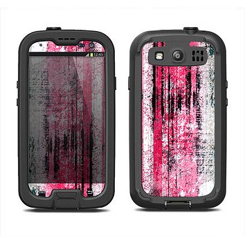 The Vintage Worn Pink Paint Samsung Galaxy S3 LifeProof Fre Case Skin Set