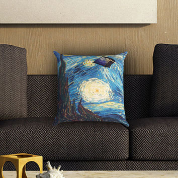 Stary Night Tardis Pillow Cover , Custom Zippered Pillow Case One Side Two SIde